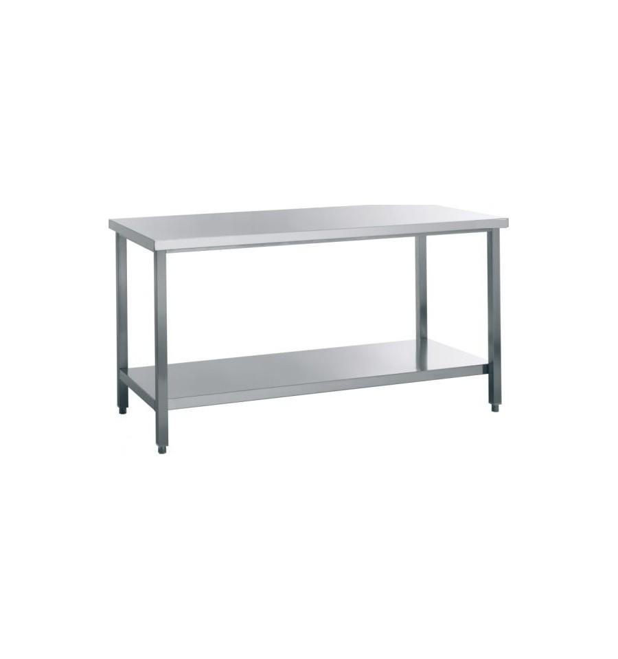 Table inox centrale avec étagère profondeur 600mm longueur de 1000 à 1800mm -> Table Centrale