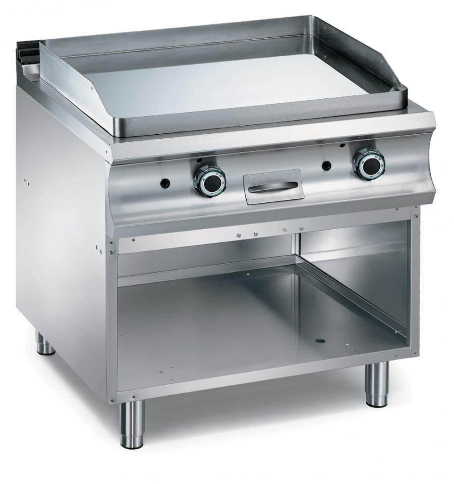 Plaque grill lisse double gaz sur soubassement for Materiel de cuisson professionnel