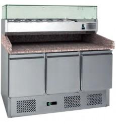 Table à pizzas avec vitrine réfrigérée