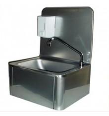 Lave mains complet avec dosseret  et commande au genou, en inox