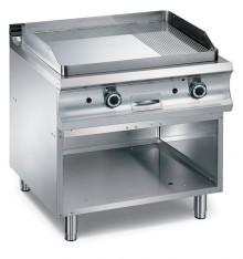 Plaque grill 2/3 lisse 1/3 rainurée électrique sur soubassement